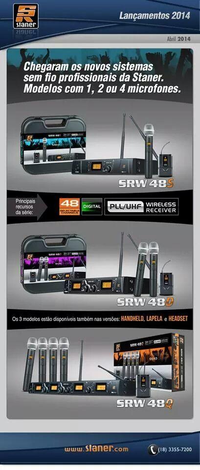 SRW48 – Nova linha de microfones sem fio Staner