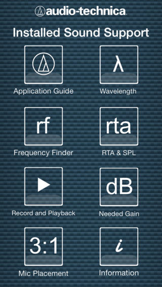 Installed Sound Support – App da Audio-Technica para iOS