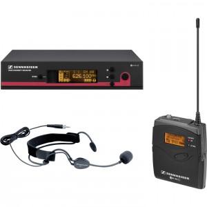 Exemplo de sistema sem fio: receptor, bodypack e microfone Headset