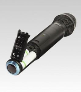 Microfone handheld alimentado por pilhas
