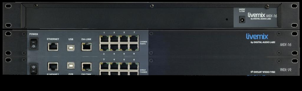 sistema de monitoração pessoal, misturador monitor pessoal, misturador central com Audinate Dante