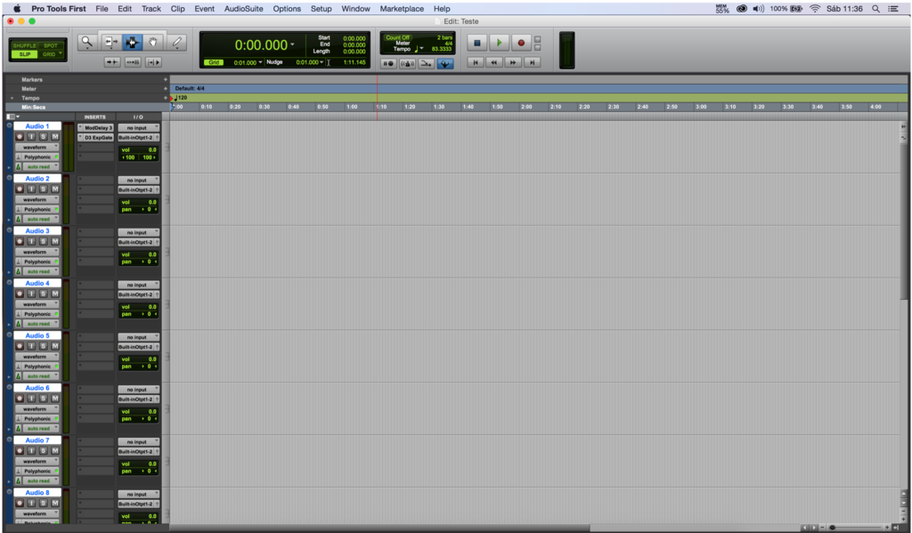 Interface principal do Pro Tools First