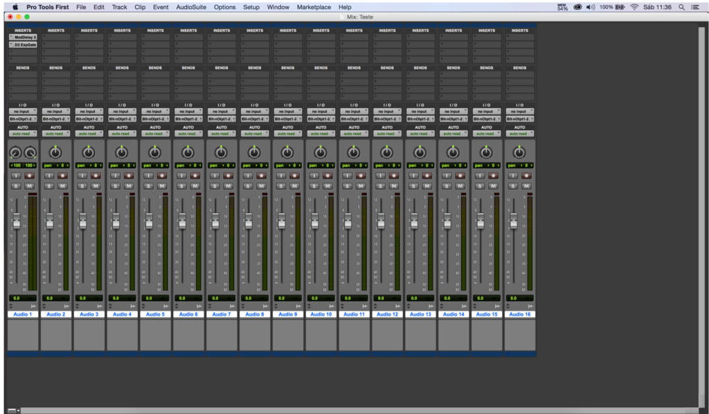 Interface de mixagem do Pro Tools First